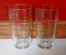 Budweiser Beer Pint Glasses Matching Set of 2