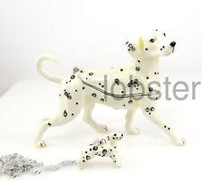 DALMATIAN DOG FINE ENAMEL CRYSTAL TRINKET KEEPSAKE BOX includes pendant necklace