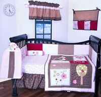9 PC baby Girl Crib Bedding Set,flower garden dragon fly cute and soft BRAND NEW