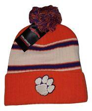 8b1c4ae7a79 Clemson Tigers Cuff Knit Beanie with Pom Hat NCAA Headwear