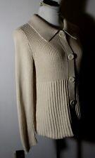 Women's ANN TAYLOR Tan Long Sleeve Cardigan Sweater Size M