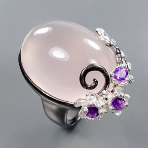 One of a kind SET Rose Quartz Ring Silver 925 Sterling  Size 7.5 /R177447