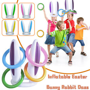 Inflatable Easter Bunny Rabbit Ears Hat & Ring Toss Easter Kids Game Toy Gift