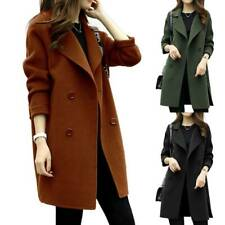 Womens Lapel Wool Coat Trench Jacket Winter Long Parka Overcoat Loose Outwear