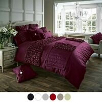 VERINA PLATED FRILLS DUVET COVER Quilt Bedding Set With Pillow Case All Sizes