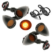4 x Black Motorcycle Turn Signal Indicator Light For Harley Chopper Cafe Racer