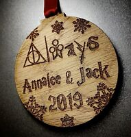 Personalised Harry Potter Wooden Christmas Tree Bauble Ornament Decoration Xmas