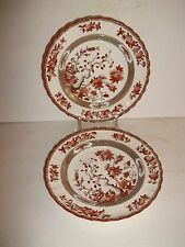 """2 Spode Copeland China Indian Tree Orange Rust Luncheon Lunch Plate 8.75"""" XCLT"""