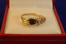 Ladies Childs 9ct Yellow Gold Diamond Set HAND RING Hm Size N