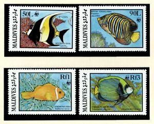 Maldives 1986 WWF Marine Angelfish Fish Wildlife Nature Set of 4v MNH
