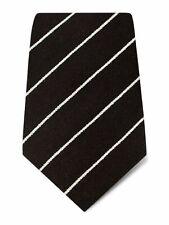 Braun mit weißen Streifen Gewebt Wolle & Seide Tie