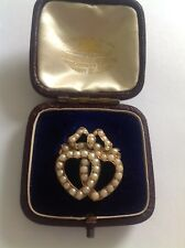 Delightful Fine Victorian 15ct Gold Seed Pearl & Pale Coral Double Heart Brooch