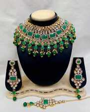Indian Bridal Fashion Jewelry Wedding Gold Tone Necklace Earring Set