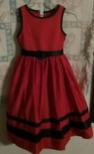 Girls Red & Black Holiday Party Dress Size 6 has black mesh for very full dress