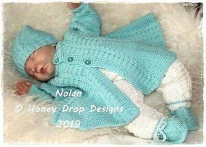 "PAPER KNITTING PATTERN * NOLAN * 20-24+"" Reborn/Newborn - 6 Months approx."