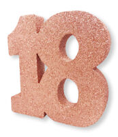 "** ROSE GOLD GLITTER TABLE DECORATION 18 YEARS 18th BIRTHDAY PARTY 8"" x 8"" GIRLS"