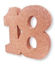 """Rose Gold Glitter Table Decoration 18 Years 8"""" x 8"""" Ladies 18th Birthday Party"""