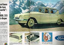 PUBLICITE ADVERTISING 054  1961  FORD CONSUL 315   à freins disques ( 2 pages)