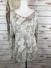 NWT Express Women Cold Shoulder Snakeskin Shirt Blouse Ivory  Sz S/P $39.90