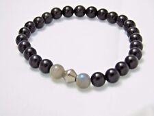 Black Obsidian Labradorite Bracelet Natural Quartz Crystal Healing Stone Unisex