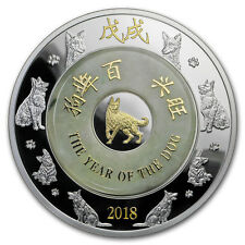2018 Laos 2 oz Silver & Jade Year of the Dog Proof (Abrasion) - SKU#174857