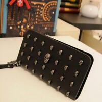 Women Lady Leather Wallet Clutch Long Purse Punk Skull Rivets Wallet Handbag Q