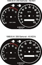 KAWASAKI A1 SAMURAI A7 AVENGER SPEEDO TACHOMETER REV COUNTER GAUGE FACE OVERLAYS