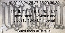 15 Pcs Jumbo Spanners Set Matrix And Imperial SAE Inch
