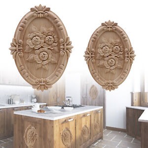 Wooden Carved Applique Furniture Unpainted Moulding Decals Onlay Home Decor DIY