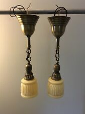 """Early Brass Pendant Light Fixtures With Rare Fitters 17"""" Long 25C"""