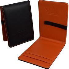 Mens Wallet Premium Money Clip Black & Orange Faux Leather Cash & Card Holder