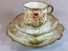LIMOGES TRIO circa 1890s (onorevole) marziale Redon hand painted Finest BONE CHINA