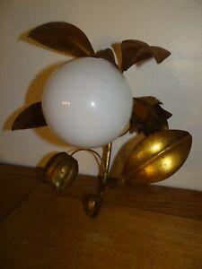 Belle Applique Métal Doré Feuilles Fleurs Opaline Maison Charles Jansen Vintage