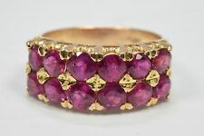 VTG Women's 2.76 ct Natural Ruby Luxurious 18k Solid Yellow Gold Cocktail Ring