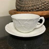 """Coalport White Countryware 2 1/4"""" Flat Cup & Saucer England Excellent - 8 Avail."""