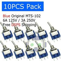10 PCS Mini 3-Pin SPDT ON-ON Toggle Switches 6A 125VAC / 3A 250VAC MTS-102
