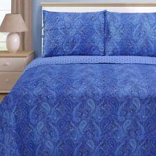 3-pc Queen Navy Blue Moroccan Paisley Print Reversible Quit & Pillow Sham Set