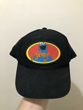 Vintage 90s Sesame Street Cookie Monster Patch Snapback Hat Cap Jim Henson RARE