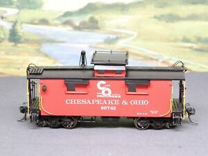 HO 1/87 BRASS Overland Models C&O #9074 WOOD CABOOSE (Red) with DCC LIGHTING