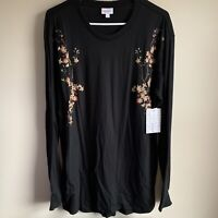 Lularoe Black Cherry Blossom Long Sleeve Hudson Tee T-shirt Size Large NWT