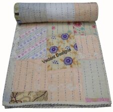 Indian Embroidered Patchwork Kantha Quilt Cotton Bohemian Reversible Bedspread