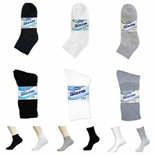 3,6 or 12 Pairs Men's Diabetic Cotton Ankle Circulatory Health Socks 9-11 10-13