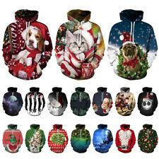 Men Christmas 3D Printed Hoodie Sweatshirt Pockets Drawstring Sweater Pullover