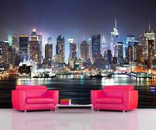 Wall Mural Phot Wallpaper NIGHT NEW YORK MANHATTAN SKYLINE Home Decor 335x236cm
