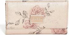 New GUESS Shimmer Metallic Gold Pink Green Floral Rose Slim Wallet Clutch Bag
