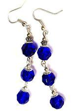 Very Long Silver Blue Earrings Glass Beads Drop Dangle Vintage Style Pierced
