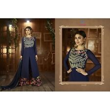 Party Wear Semi Stitched Embroidered Anarkali Style Salwar Kameez Suit Navy