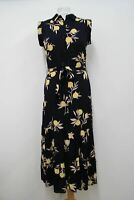 HOBBS Ladies Esme Navy Blue Floral Collared Buttoned Shirt Dress UK8 EU36 NEW