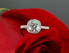 Halo Ring Solid 925 Sterling Silver 2.57Ct White Round Cut Diamond Engagement