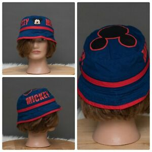 Disney Mickey Navy and Red Embroidered Toddler Bucket Hat EUC